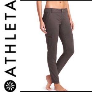 Athleta Gray Skinny Crop Cargo Pants